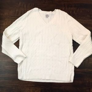 Croft & Barrow Cable Knit V Neck Sweater